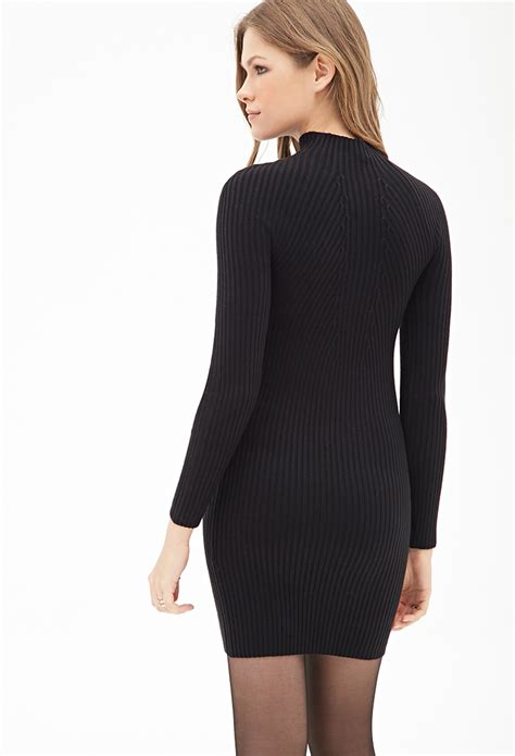 High Neck Sweter N forever 21 ribbed high neck sweater dress in black lyst
