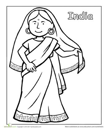 preschool indian coloring page indian traditional clothing coloring page traditional
