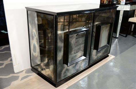 Mirrored Bar Cabinet Mid Century Smoked Mirrored And Ebonized Sideboard Bar Cabinet At 1stdibs