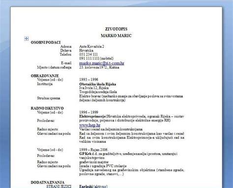 format obrazac za cv curriculum vitae curriculum vitae za