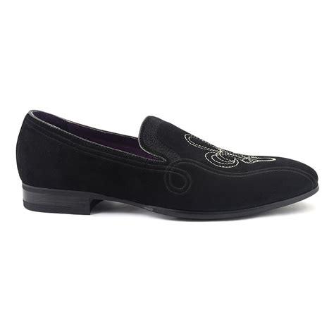 black slipper loafers shop mens black suede loafer slipper gucinari