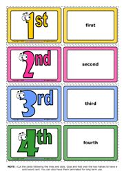 free printable ordinal number cards ordinal numbers esl printable flashcards and game cards
