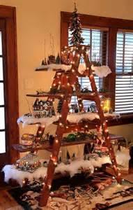 Christmas tree decorating idea ladder display shelf country