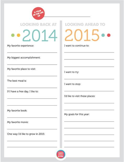 new year review free printable family new year s resolutions year in