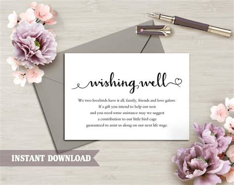 bridal shower insert card template wishing well card wedding wishing well wishing well