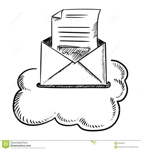 White Letters Sketch 1 open e mail letter in cloud stock vector image 58363823