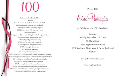birthday program template my grandmother elsie battaglia s 100th birthday