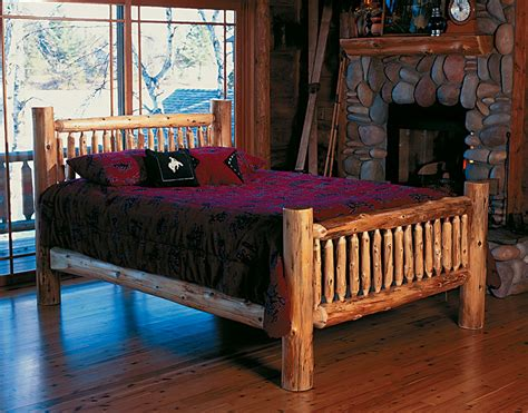 cedar log bed kits headboard  rustic furniture