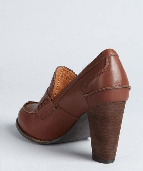 stacked heel loafer jeffrey cbell brown leather mtm stacked heel loafers in