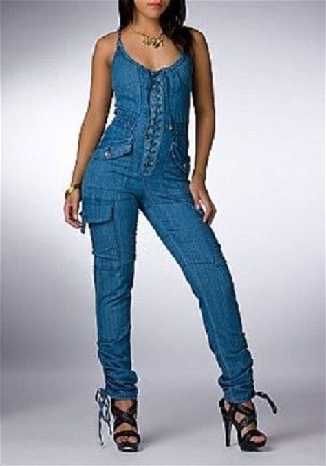jean jumper dereon lace up denim jumpsuit open back ruched leg