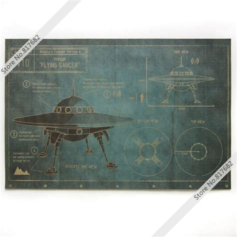 German Kitchen Designs Vintage Posters Kraft Paper Painting Ufo Flying Saucer