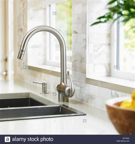 Kitchen Faucets Vancouver Bc by Up Of Stainless Steel Kitchen Faucet With Marble Subway Stock Photo Royalty Free Image