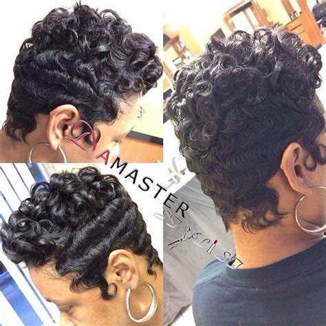 black hairstyles with finger wave sides and curls on top 580 best short cuts bobs and weaves and other hairstyles
