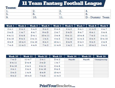 printable nfl league schedule printable 11 team fantasy football league schedule