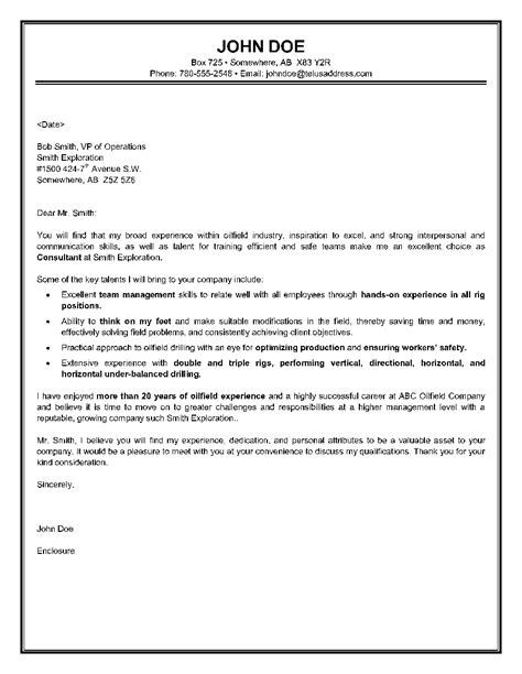 writing a consulting cover letter oilfield consultant cover letter