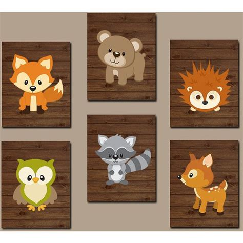 Woodland Nursery Wall Art Woodland Wall Art Wood Forest Woodland Animal Nursery Decor