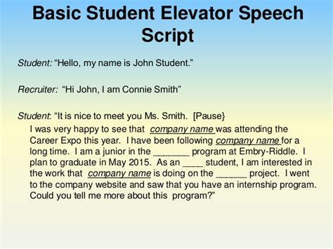 Elevator Speech Sle For Students your pitch using an elevator speech to impress