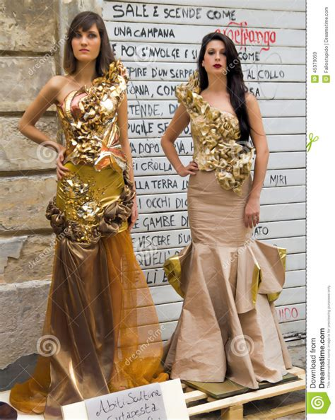 Capita Dress top models lecce 2019 paper meche dressed editorial stock