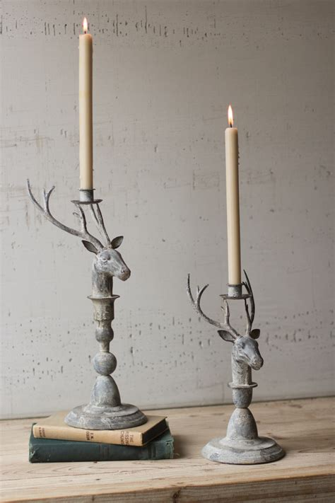 set of 2 deer taper candle holders