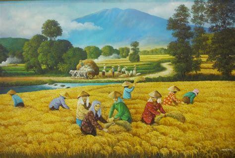 Lukisan Pemandangan Rumah Desa Klasik 1 lukisan pemandangan di tepi sawah images