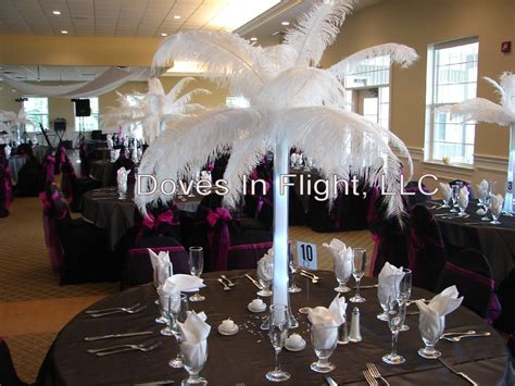 feather centerpieces chair covers of lansing centerpieces and florals