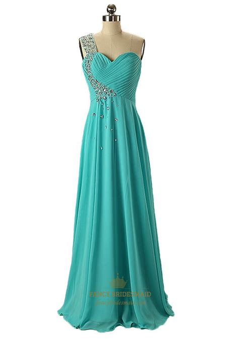 Turquoise Bridesmaid Dress by Turquoise Chiffon Empire One Shoulder Bridesmaid Dress