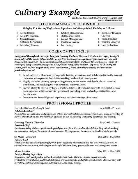 Culinary Resume Templates by Sous Chef Resume Exle