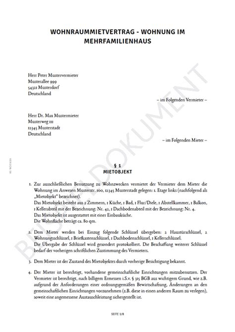 mustermietvertrag wohnung mietvertrag f 252 r eine wohnung erstellen smartlaw