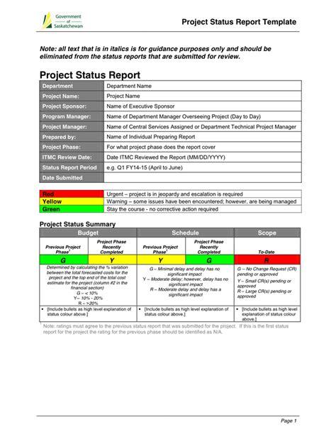 template status report template