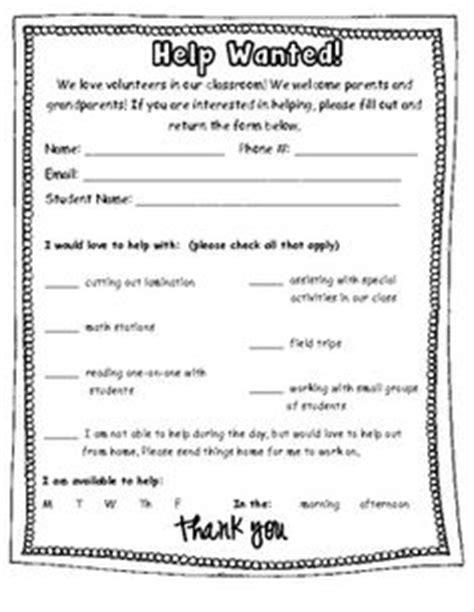 College Letter Sign Up parent volunteer questionnaire back 2 school
