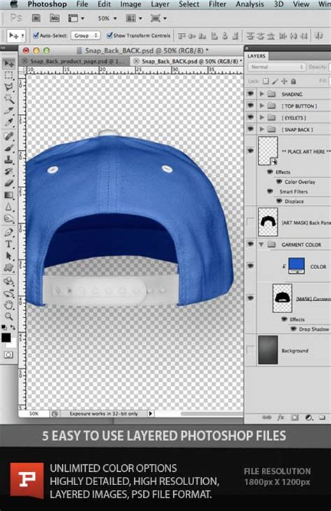 Flexfit Snapback Cap Template Photoshop Psd Layered Photoshop Templates