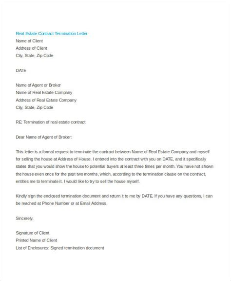 free cancellation letter sle cancellation of contract letter real estate 28 images