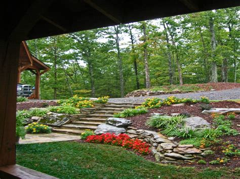 landscaping ideas for downward sloping backyard hilltop mountain house asheville nc landscape