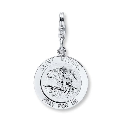 michael pray for us medal charm pendant solid 925