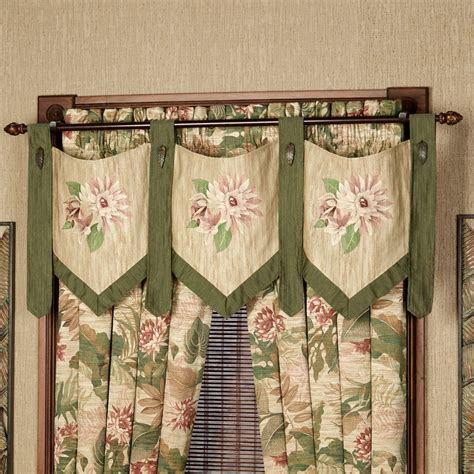 tropical curtains window treatments tropical haven embroidered valance window treatment