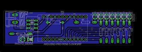 layout pcb running led spinning rotating led display using arduino pov