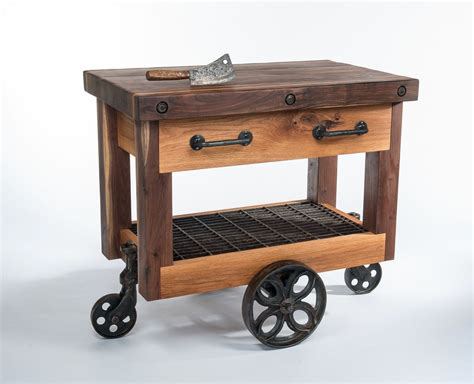 kitchen island carts on wheels crafted walnut and oak lineberry factory cart butcher