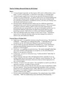 Writing Research Paper Apa Style by Apa Format Exle Research Paper