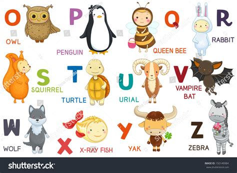 stickers alphabet animals from u to z stock vector animals abc letter oz characters stock vector