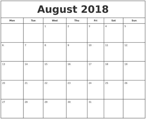 printable free calendar 2018 august 2018 print free calendar