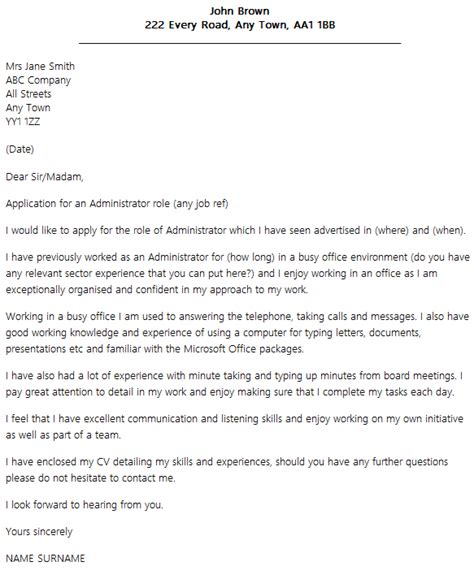 layout letter of application uk cover letter layout exle icover org uk