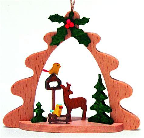 birds and deer german wood christmas tree ornament
