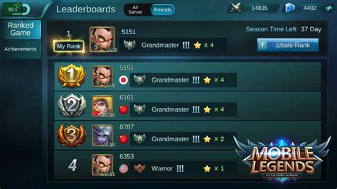 mobile legend ranking what s your ranking among friends mobile