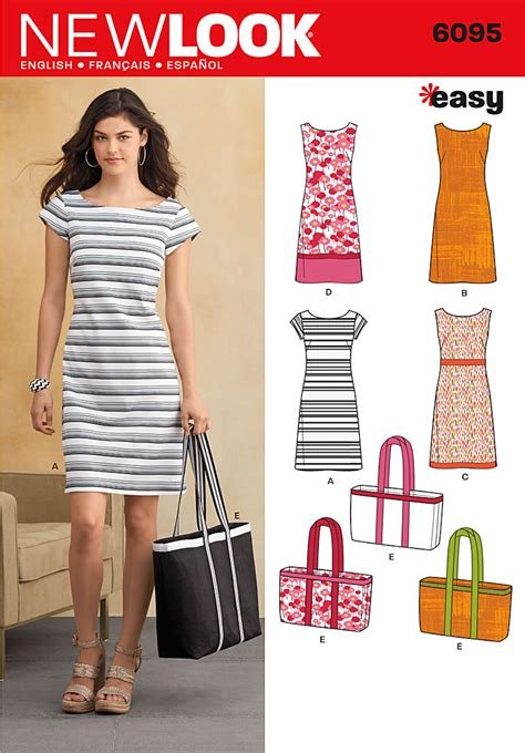 sewing pattern simple dress new look 6095 dress and bag sewing pattern