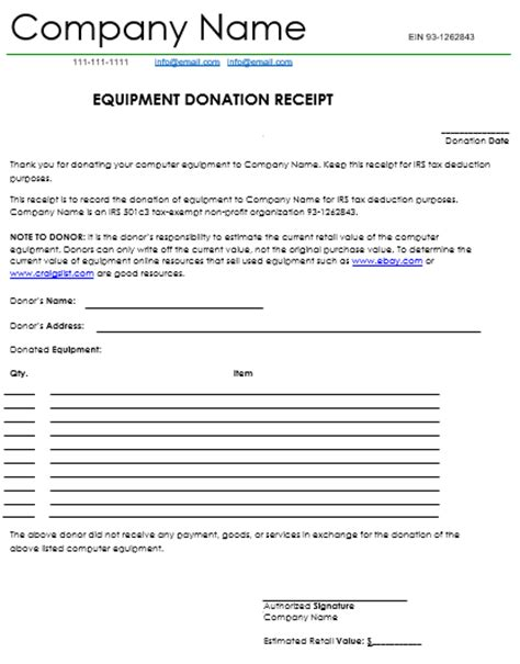equipment receipt template donation receipt template 12 free sles in word and excel