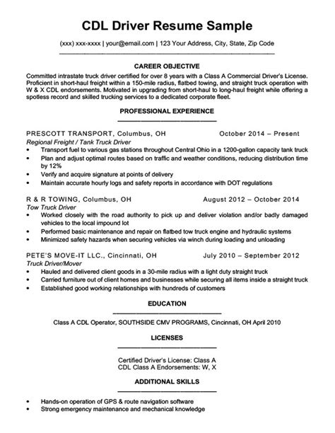 Cdl Resume by Cdl Driver Resume Sle Writing Tips Resume Companion