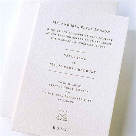 Letterpress printed wedding invitation & die cut embossed