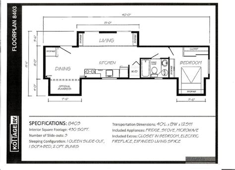 slide in cer floor plans park model rv trailers 1 floor plan 8403 park homes