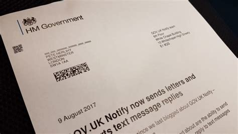 govuk notify sends letters supports text message