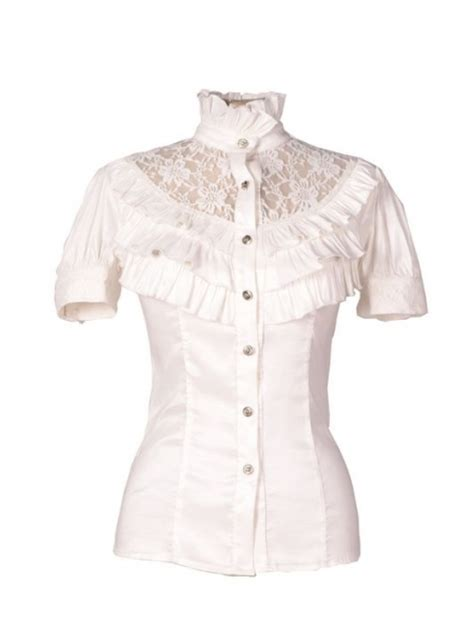 30579 Thick Cotton Lace Blouse White 28 Womens High Collar Blouse Sobatapk